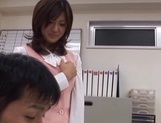 Sexy office lady Rino Kamiya gives a blowjob and gets rear fuck picture 5