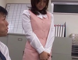 Sexy office lady Rino Kamiya gives a blowjob and gets rear fuck picture 6