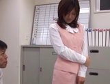 Sexy office lady Rino Kamiya gives a blowjob and gets rear fuck picture 8
