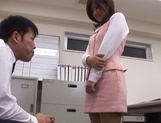 Sexy office lady Rino Kamiya gives a blowjob and gets rear fuck picture 9