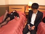 Cute office milf in sexy stockings enjoys a hard fuck