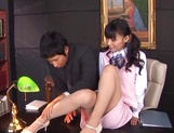 Aino Kishi, naughty Asian office lady gets foot licking from boss