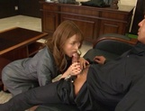 Attractive Japanese office lady Akari Asahina blows and rides her boss picture 11