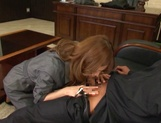 Attractive Japanese office lady Akari Asahina blows and rides her boss picture 12