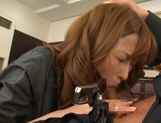Attractive Japanese office lady Akari Asahina blows and rides her boss picture 13
