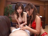 Horny boss gets three bimbos to have sex with him at work picture 12