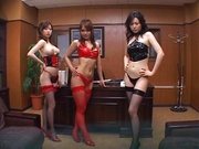 Horny boss gets three bimbos to have sex with him at work