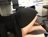 Long-haired Japanese milf gets fucked under a table picture 11