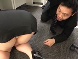 Long-haired Japanese milf gets fucked under a table picture 12