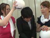 Sexy Chisato Shohda dominating in threesome MFF