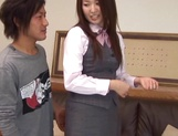 Yummy office girl Sakura Morino licks balls and gets drilled and banged picture 12