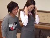 Yummy office girl Sakura Morino licks balls and gets drilled and banged picture 13