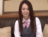 Yummy office girl Sakura Morino licks balls and gets drilled and banged picture 2