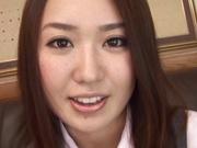 Yummy office girl Sakura Morino licks balls and gets drilled and banged