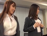 Kinky office chicks Riko Honda and Risa Kasumi pounded properly picture 14