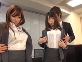 Kinky office chicks Riko Honda and Risa Kasumi pounded properly picture 15