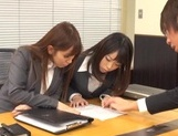 Kinky office chicks Riko Honda and Risa Kasumi pounded properly