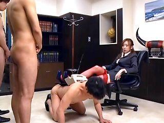 Nasty Asian office lady Rin Sakuragi  gives hardcore blowjob