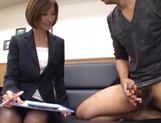 Beautiful office lady in sexy pantyhose Akari Asahina makes a guy jerk off picture 15