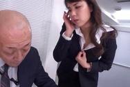 Horny office lady fucks her horny boss under the tableasian boobs, sex tits