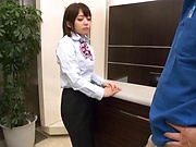 Office woman enjoys a tenacious pussy licking