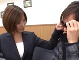 Gorgeous office lady Akari Asahina spreads legs in front of her amazed client picture 13