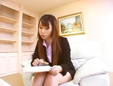 Hot Asian interviewer Ai Sayama masturbates while giving a footjob picture 1