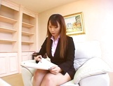 Hot Asian interviewer Ai Sayama masturbates while giving a footjob picture 2