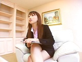 Hot Asian interviewer Ai Sayama masturbates while giving a footjob