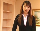 Hot Asian interviewer Ai Sayama masturbates while giving a footjob picture 6