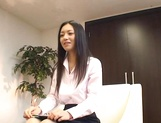 Horny interviewer, Aino Kishi in sexy lingerie jerks off guest picture 15
