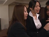 Office ladies share a large stiff penis picture 11
