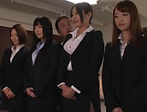 Office ladies share a large stiff penis