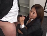 Sexy Asian office girl blowing a large penis picture 12