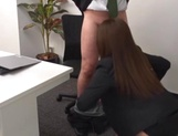 Sexy Asian office girl blowing a large penis picture 14