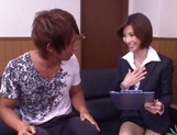 Skinny office lady Akari Asahina gets her boobs teased and pussy banged picture 13