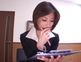 Skinny office lady Akari Asahina gets her boobs teased and pussy banged