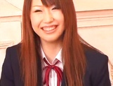 Sexy Asian schoolgirl Ai Sayama masturbates in front of a guy picture 11