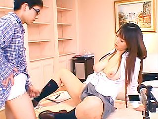 Sexy Asian schoolgirl Ai Sayama masturbates in front of a guy