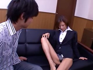 Asian office lady Akari Asahina gets her horny pussy licked