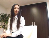 Long-haired Japanese office chick Aino Kishi gets body licked and pussy plowed