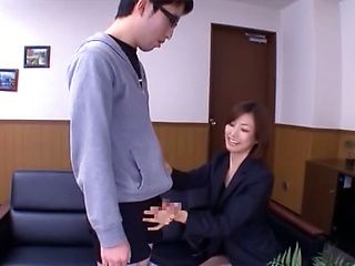 Naughty hand job from office lassie Akari Asahina