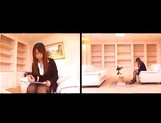 Kinky office lady Ai Sayama strips and give her guy a hand job