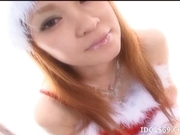 Ren Aizawa Costumed Asian babe In Santa Suit Gets Cum