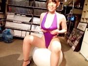 Busty Japanese babe Koyomi Yukihira in leotard sucking a cock like a pro