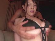Busty babe Koyomi Yukihira in bikini and heels gets her tits toyed and fucked