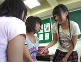 Nude Asian schoolgirls Yuri Shinomiya and her friends enjoys hard dicks picture 8