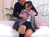 Japanese AV model is a schoolgirl fucked hard and jizzed on