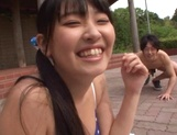 Japanese cheerleader Airi Satou gets hardcore facial at outdoor