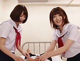 Big tit schoolgirls blows wood hard in a wild duo picture 2